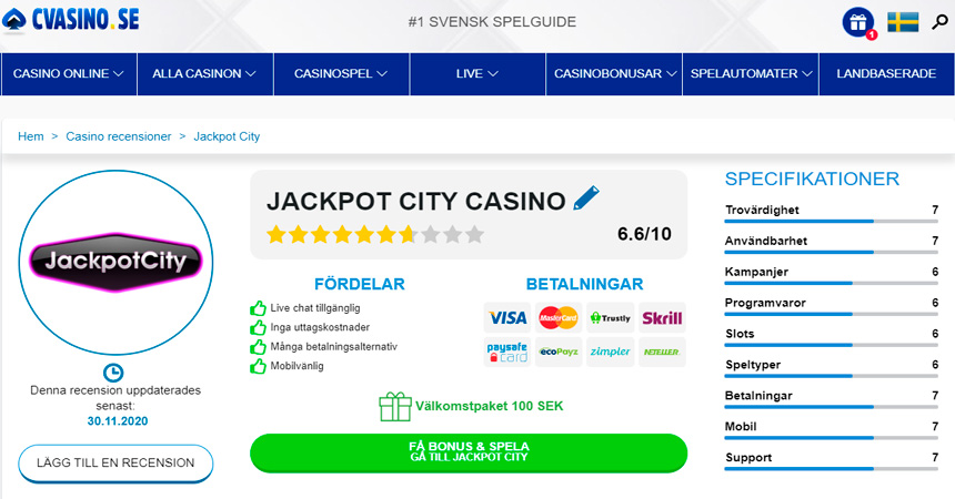 cvasino.se - casino review page