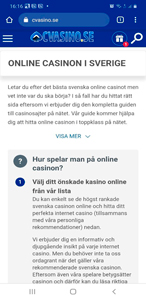 cvasino.se - mobile version